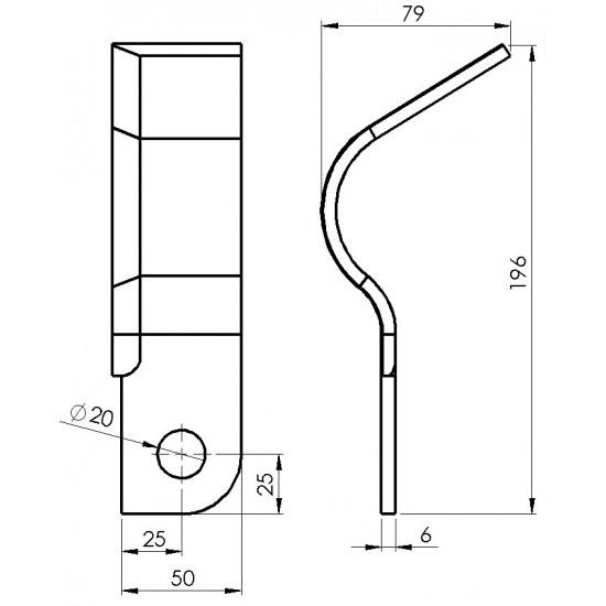 Cutit tocator stanga SIP KK30-10/09